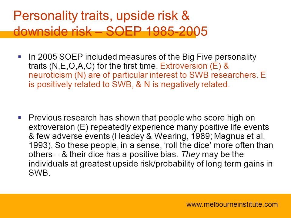 www.melbourneinstitute.com Personality traits, upside risk & downside risk – SOEP 1985-2005  In 2005 SOEP included measures of the Big Five personality traits (N,E,O,A,C) for the first time.