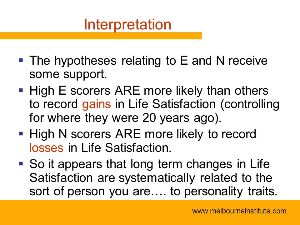 www.melbourneinstitute.com Interpretation  The hypotheses relating to E and N receive some support.
