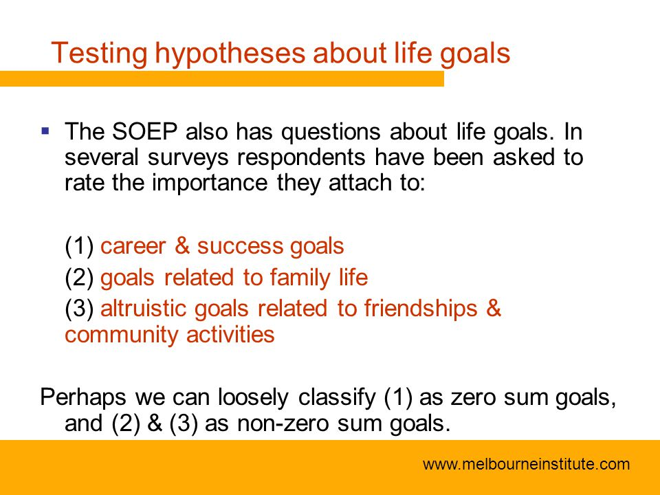 www.melbourneinstitute.com Testing hypotheses about life goals  The SOEP also has questions about life goals.