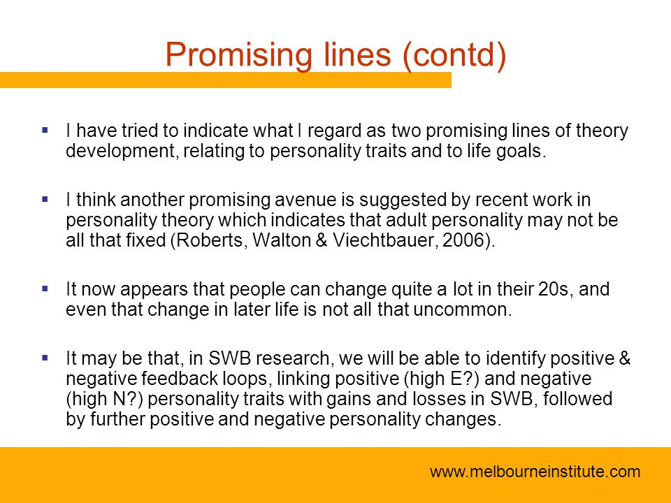 www.melbourneinstitute.com Promising lines (contd)  I have tried to indicate what I regard as two promising lines of theory development, relating to personality traits and to life goals.