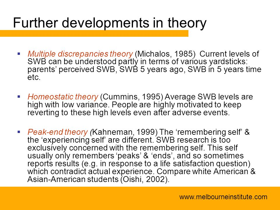 www.melbourneinstitute.com Further developments in theory  Multiple discrepancies theory (Michalos, 1985) Current levels of SWB can be understood partly in terms of various yardsticks: parents' perceived SWB, SWB 5 years ago, SWB in 5 years time etc.