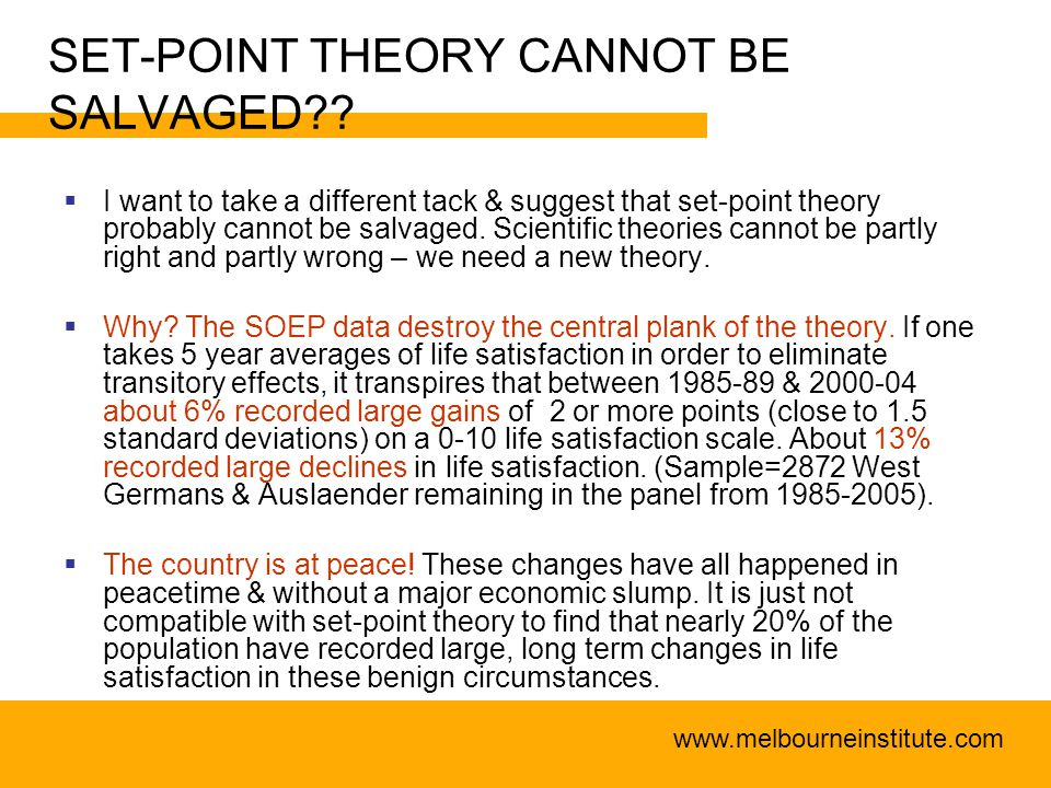 www.melbourneinstitute.com SET-POINT THEORY CANNOT BE SALVAGED .
