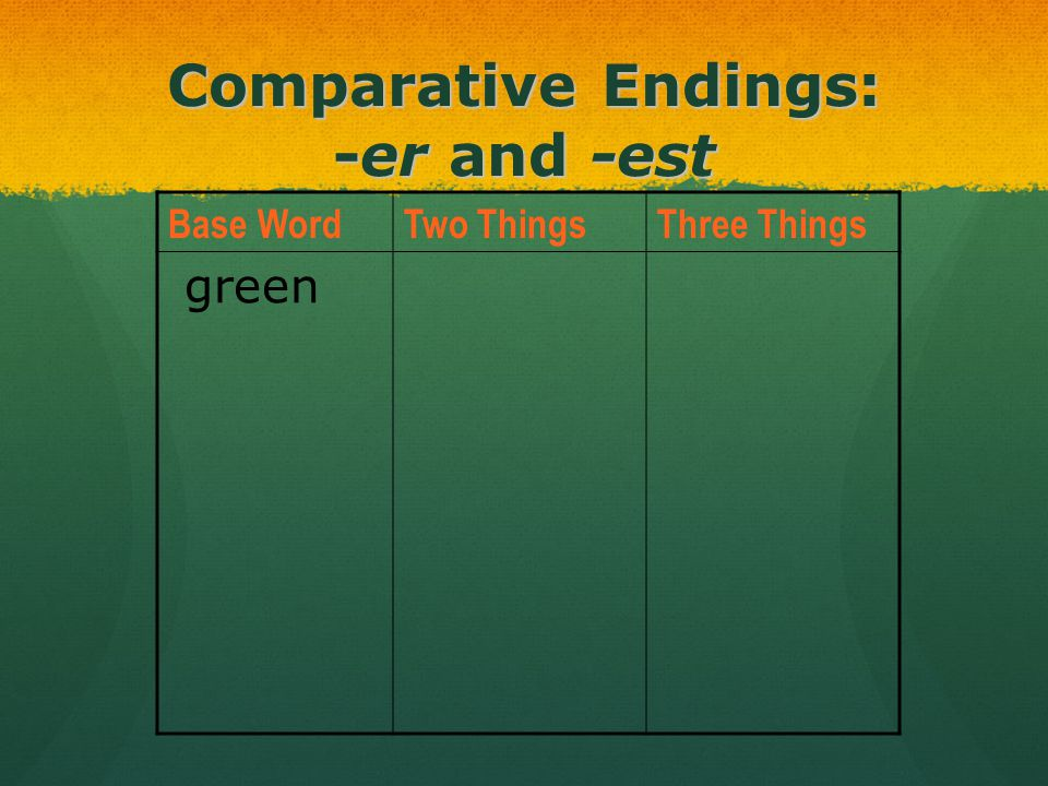 Comparative Endings: -er and -est Base WordTwo ThingsThree Things green
