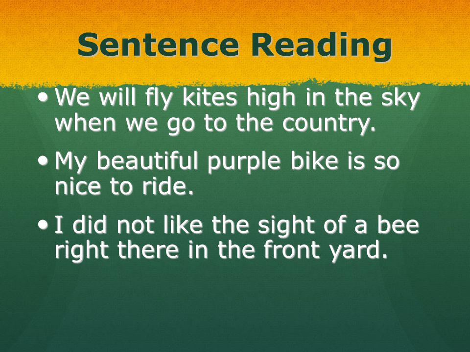 Sentence Reading We will fly kites high in the sky when we go to the country. We will fly kites high in the sky when we go to the country. My beautifu