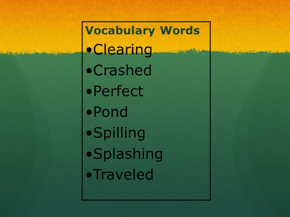 Vocabulary Words Clearing Crashed Perfect Pond Spilling Splashing Traveled