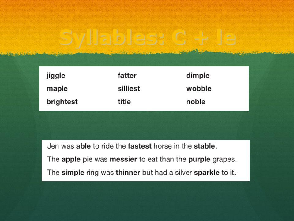Syllables: C + le