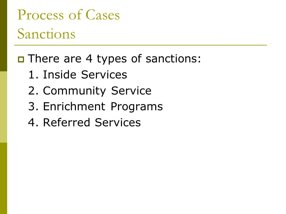 Process of Cases Sanctions  There are 4 types of sanctions: 1.