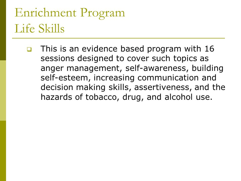 Enrichment Program Life Skills  This is an evidence based program with 16 sessions designed to cover such topics as anger management, self-awareness, building self-esteem, increasing communication and decision making skills, assertiveness, and the hazards of tobacco, drug, and alcohol use.