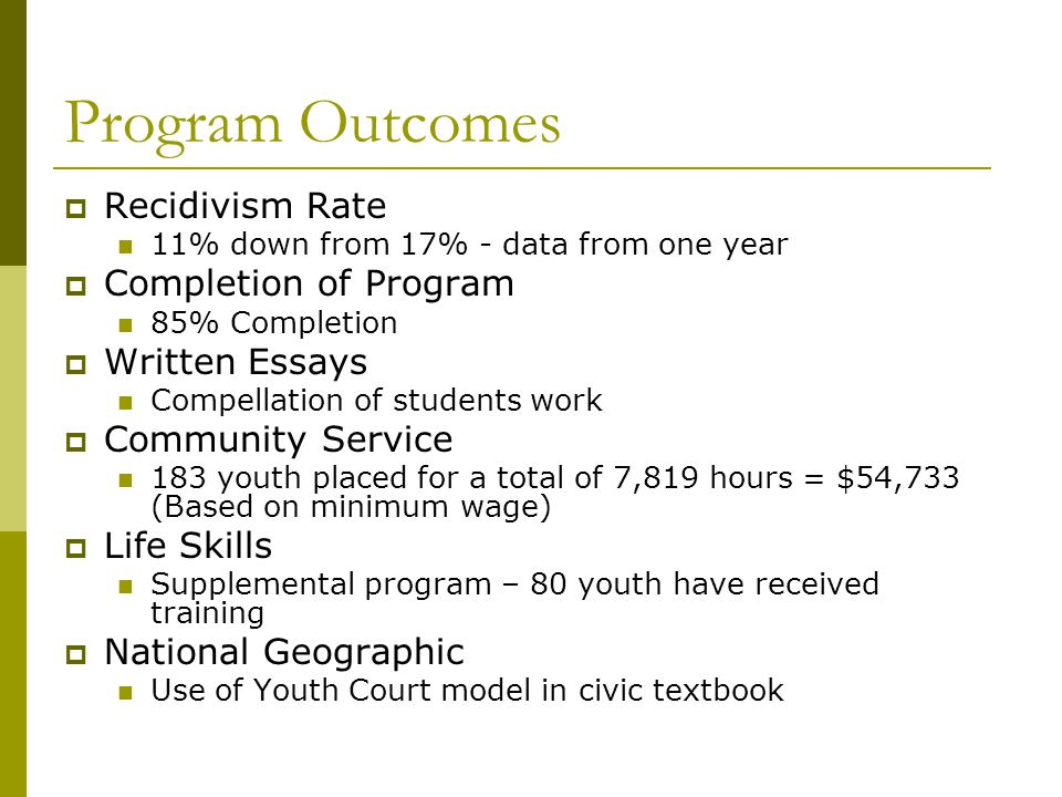 Program Outcomes  Recidivism Rate 11% down from 17% - data from one year  Completion of Program 85% Completion  Written Essays Compellation of students work  Community Service 183 youth placed for a total of 7,819 hours = $54,733 (Based on minimum wage)  Life Skills Supplemental program – 80 youth have received training  National Geographic Use of Youth Court model in civic textbook