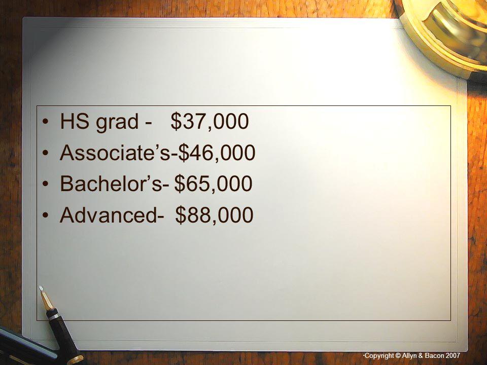""" Copyright © Allyn & Bacon 2007 HS grad - $37,000 Associate's-$46,000 Bachelor's- $65,000 Advanced- $88,000"