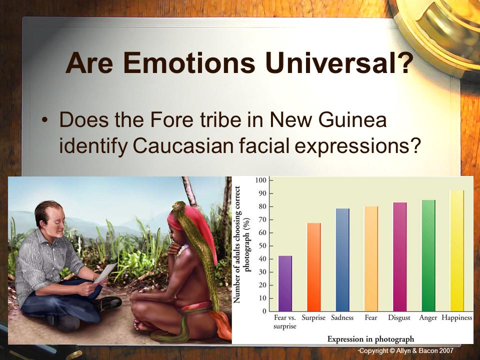 """"""" Copyright © Allyn & Bacon 2007 Are Emotions Universal? Does the Fore tribe in New Guinea identify Caucasian facial expressions?"""