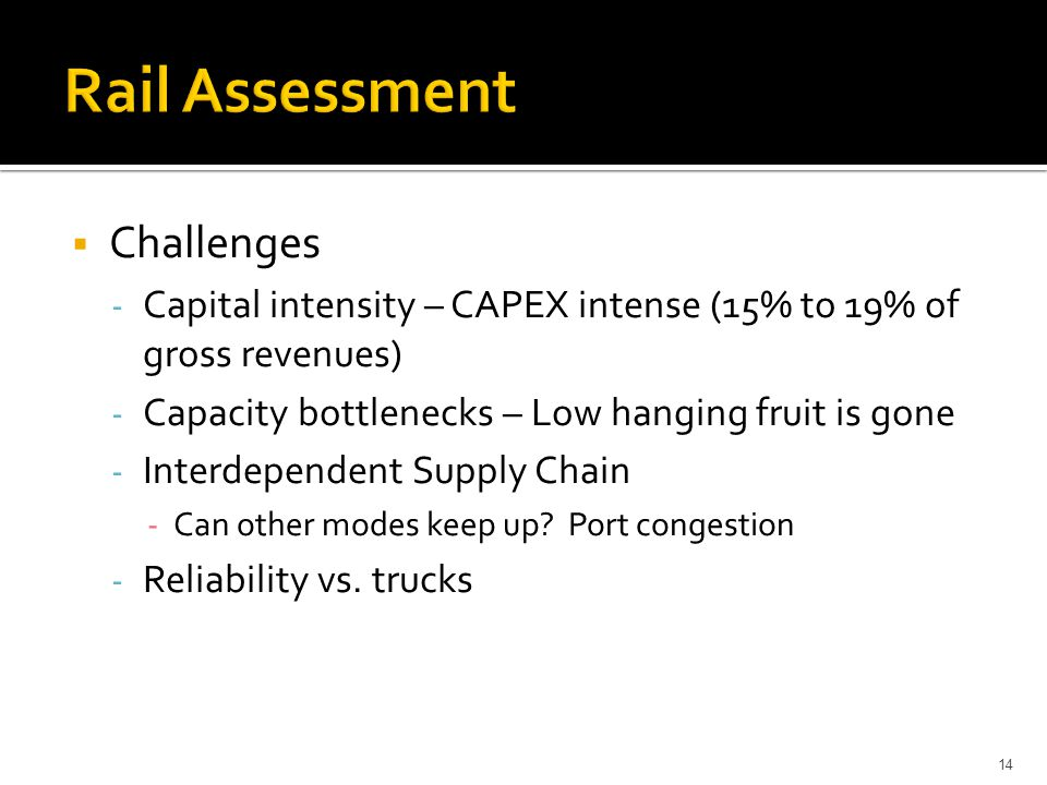  Challenges - Capital intensity – CAPEX intense (15% to 19% of gross revenues) - Capacity bottlenecks – Low hanging fruit is gone - Interdependent Su