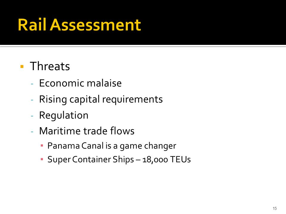15  Threats - Economic malaise - Rising capital requirements - Regulation - Maritime trade flows ▪ Panama Canal is a game changer ▪ Super Container S