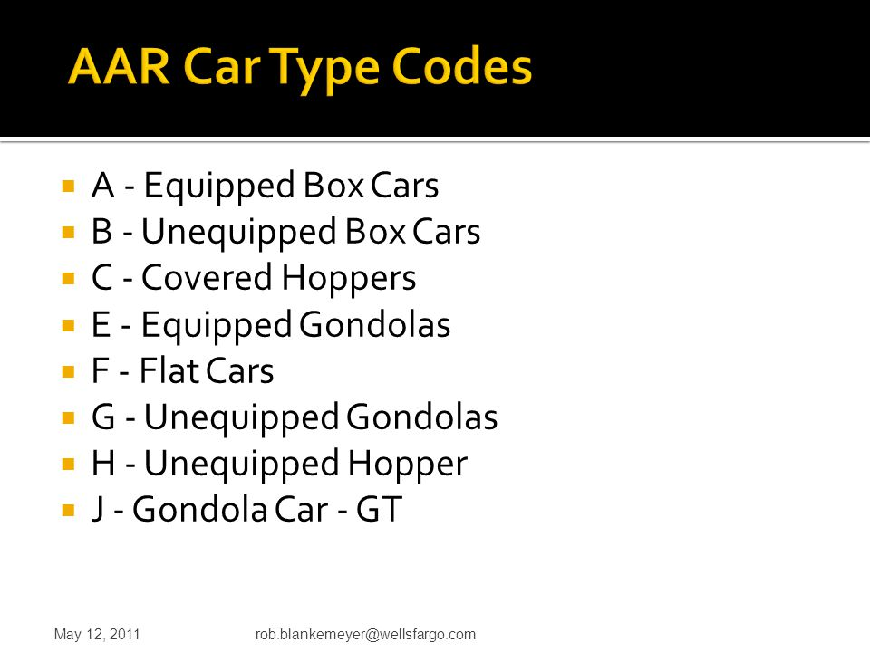  A - Equipped Box Cars  B - Unequipped Box Cars  C - Covered Hoppers  E - Equipped Gondolas  F - Flat Cars  G - Unequipped Gondolas  H - Unequi