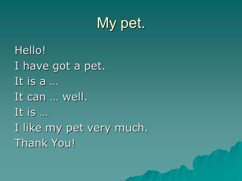 My pet. Hello. I have got a pet. It is a … It can … well.