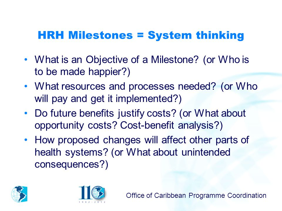 Office of Caribbean Programme Coordination HRH Milestones = System thinking What is an Objective of a Milestone.