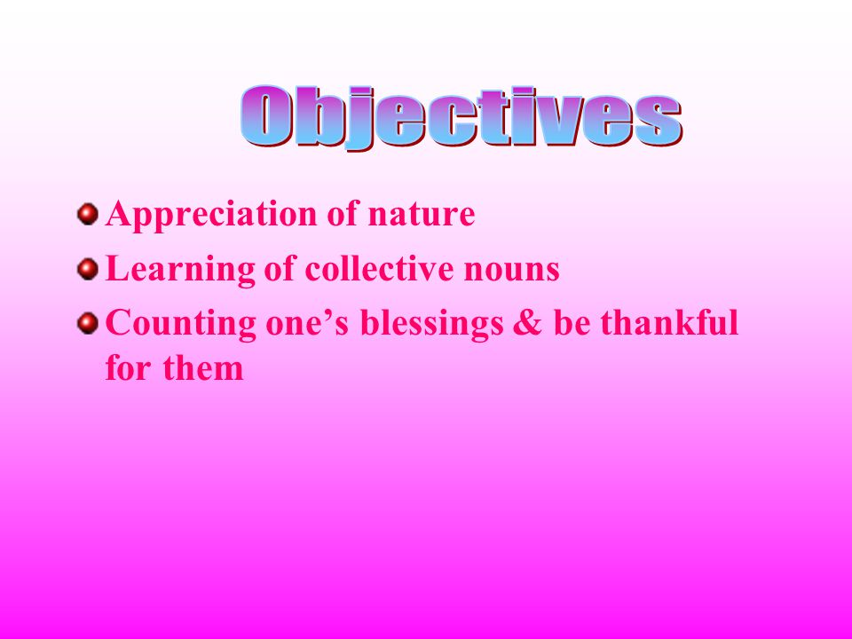 Appreciation of nature Learning of collective nouns Counting one's blessings & be thankful for them