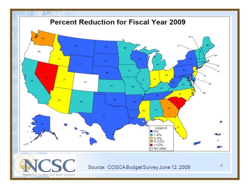 Source: COSCA Budget Survey June 12, 2009 6