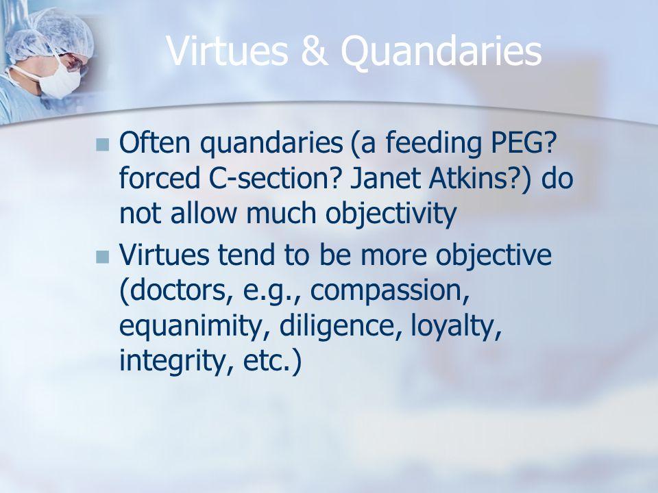 Virtues & Quandaries Often quandaries (a feeding PEG.