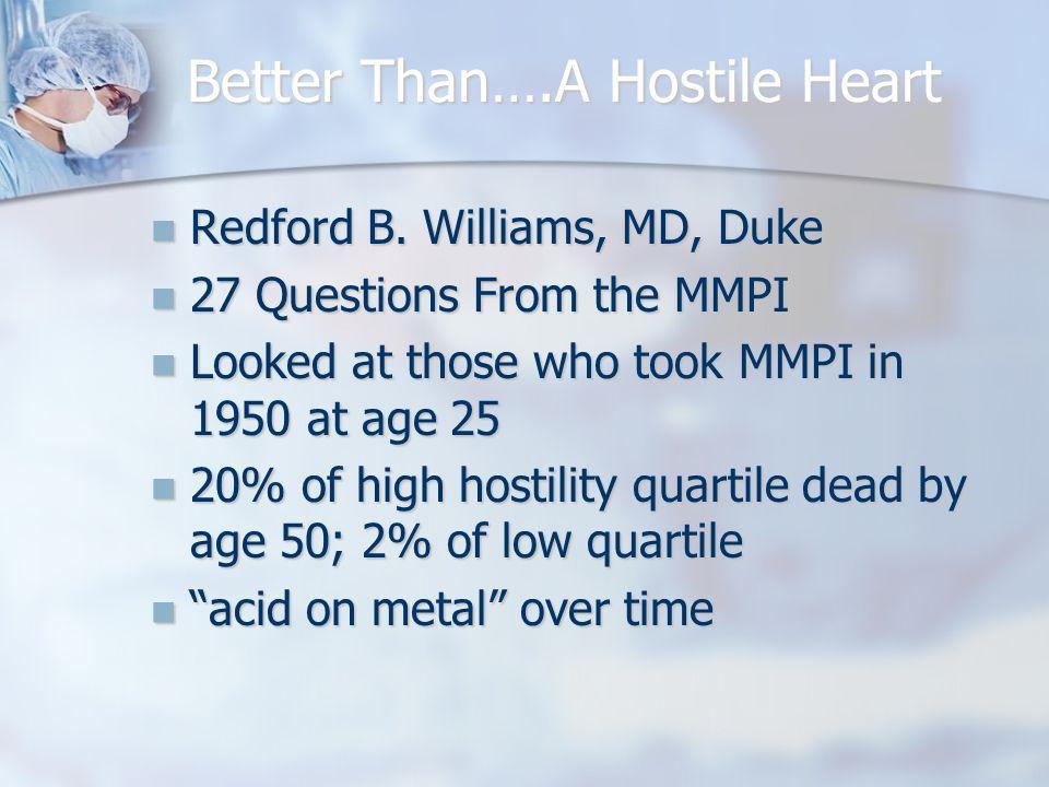 Better Than….A Hostile Heart Redford B. Williams, MD, Duke Redford B.