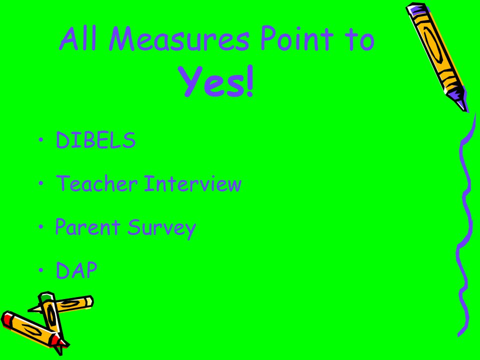 DIBELS Results Year-end results show full-day kindergarten at least slightly higher in every measure.