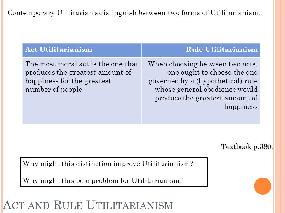 A CT AND R ULE U TILITARIANISM Textbook p.380.