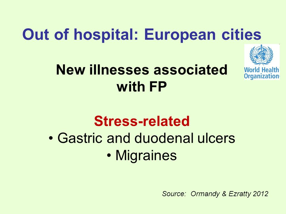 Out of hospital: European cities New illnesses associated with FP Stress-related Gastric and duodenal ulcers Migraines Source: Ormandy & Ezratty 2012