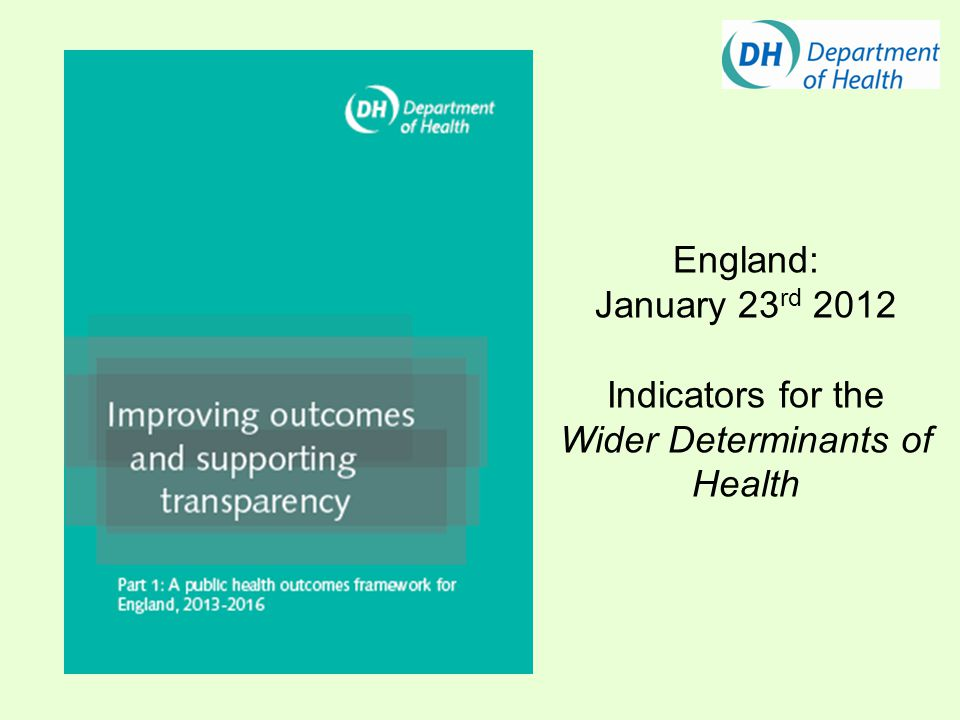 England: January 23 rd 2012 Indicators for the Wider Determinants of Health
