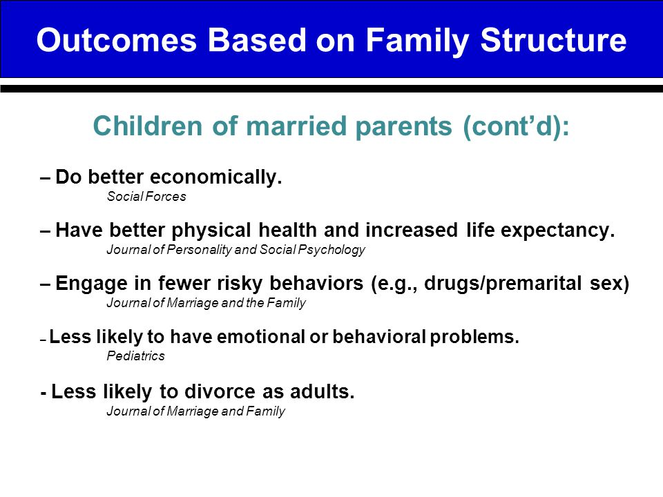 Outcomes Based on Family Structure – Worse physical and mental health.