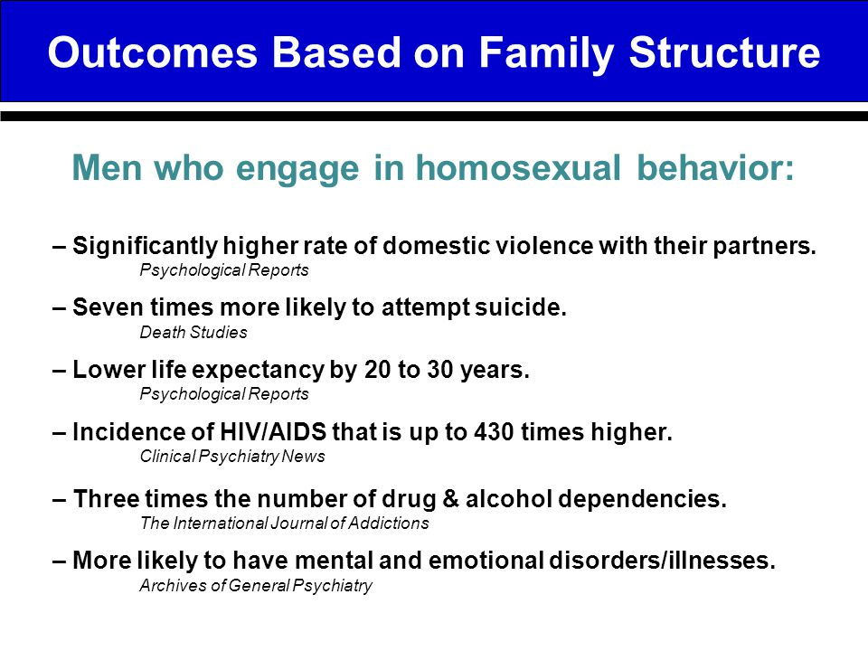 Outcomes Based on Family Structure – Significantly higher rate of domestic violence with their partners. Psychological Reports – Seven times more like
