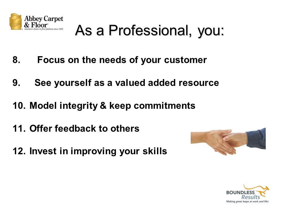 As a Professional, you: 1. Take responsibility 2.