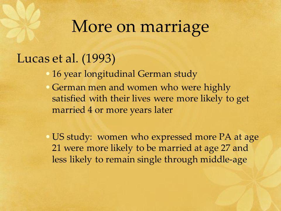 More on marriage Lucas et al.