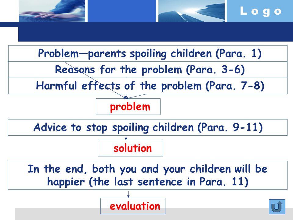 L o g o Problem—parents spoiling children (Para. 1) problem Reasons for the problem (Para.