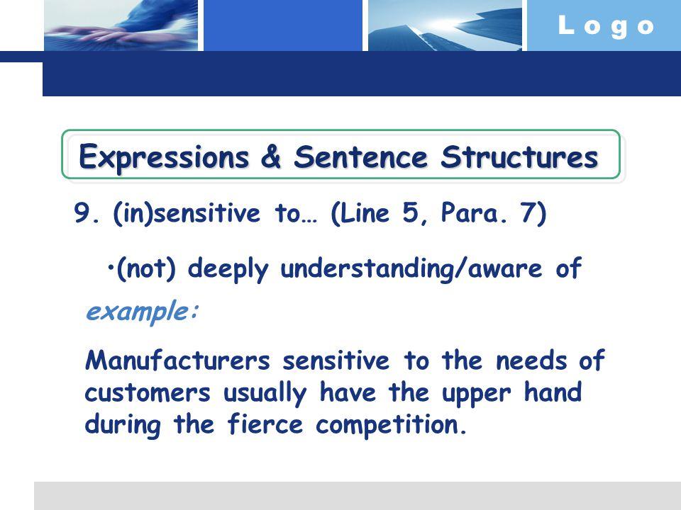 L o g o 9. (in)sensitive to… (Line 5, Para.