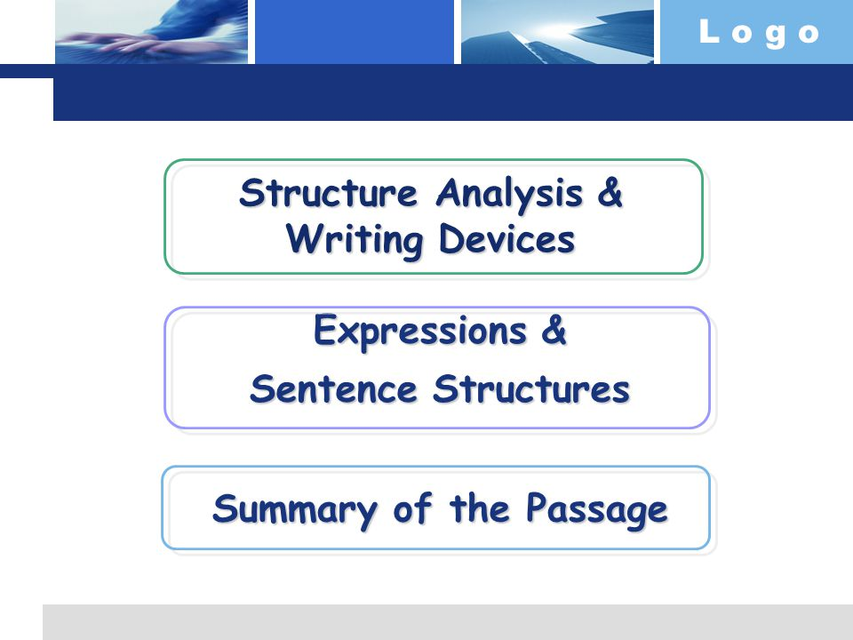 L o g o Structure Analysis & Writing Devices Structure Analysis & Writing Devices Expressions & Expressions & Sentence Structures Sentence Structures Summary of the Passage Summary of the Passage