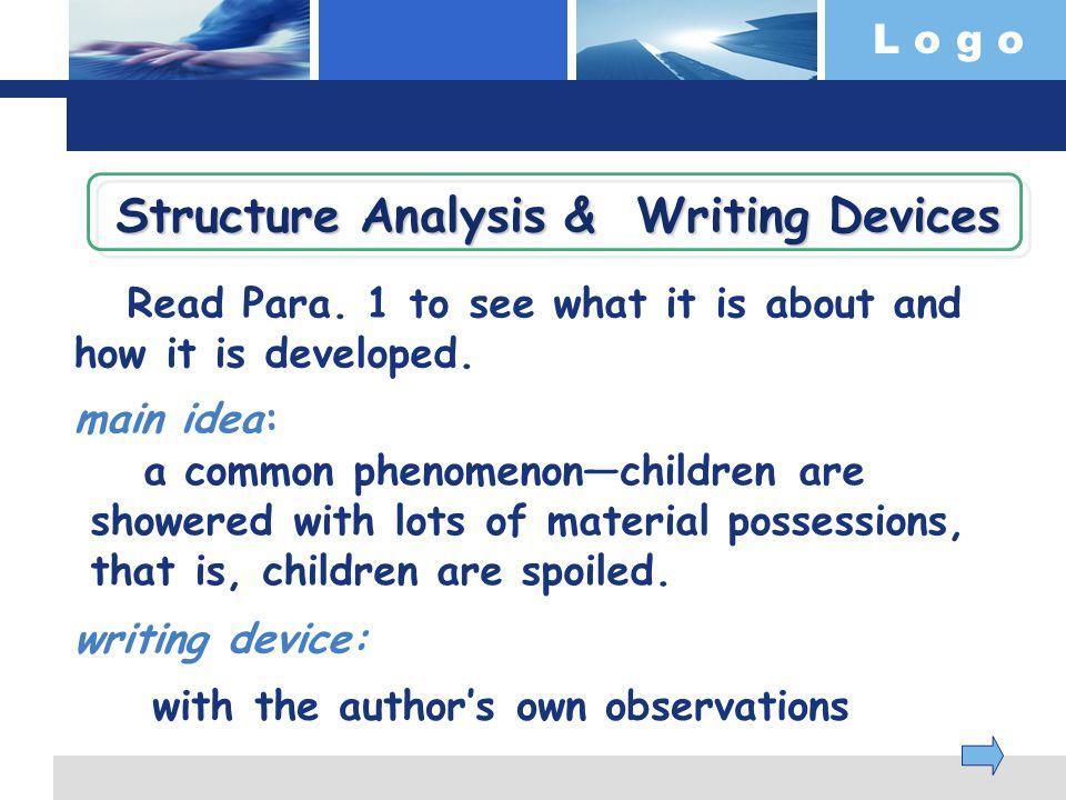 L o g o Read Para. 1 to see what it is about and how it is developed.