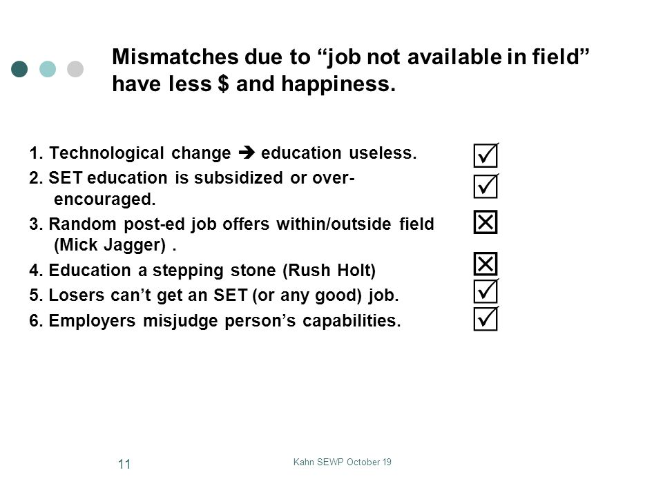 Kahn SEWP October 19 11 Mismatches due to job not available in field have less $ and happiness.