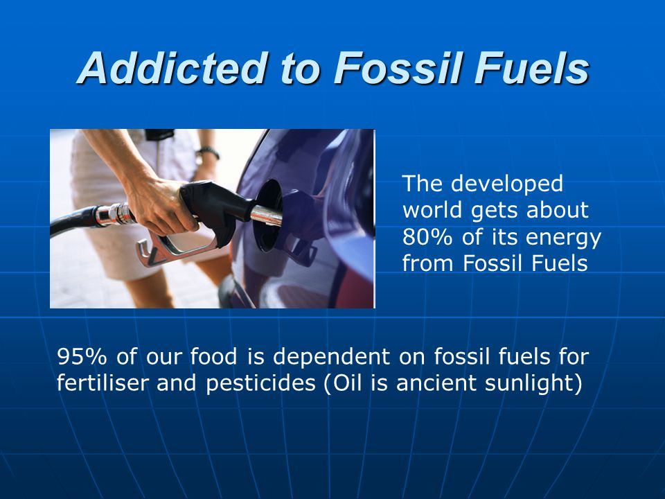 Addicted to Fossil Fuels The developed world gets about 80% of its energy from Fossil Fuels 95% of our food is dependent on fossil fuels for fertilise