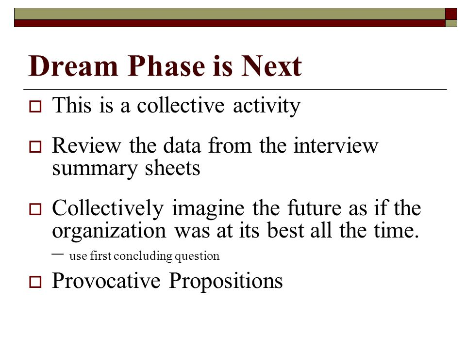 Dream Phase is Next  This is a collective activity  Review the data from the interview summary sheets  Collectively imagine the future as if the organization was at its best all the time.