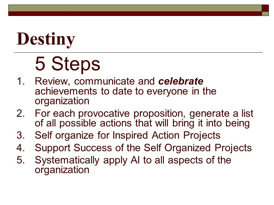 Destiny 5 Steps 1.Review, communicate and celebrate achievements to date to everyone in the organization 2.For each provocative proposition, generate a list of all possible actions that will bring it into being 3.Self organize for Inspired Action Projects 4.Support Success of the Self Organized Projects 5.Systematically apply AI to all aspects of the organization