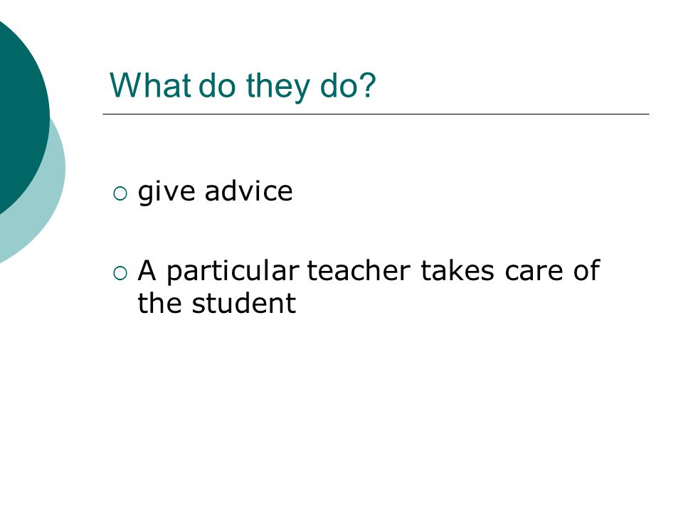 What do they do  give advice  A particular teacher takes care of the student