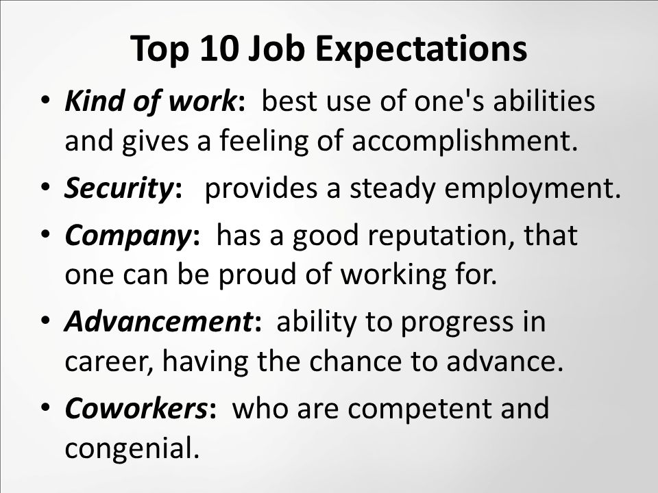 Top 10 Job Expectations Kind of work: best use of one s abilities and gives a feeling of accomplishment.