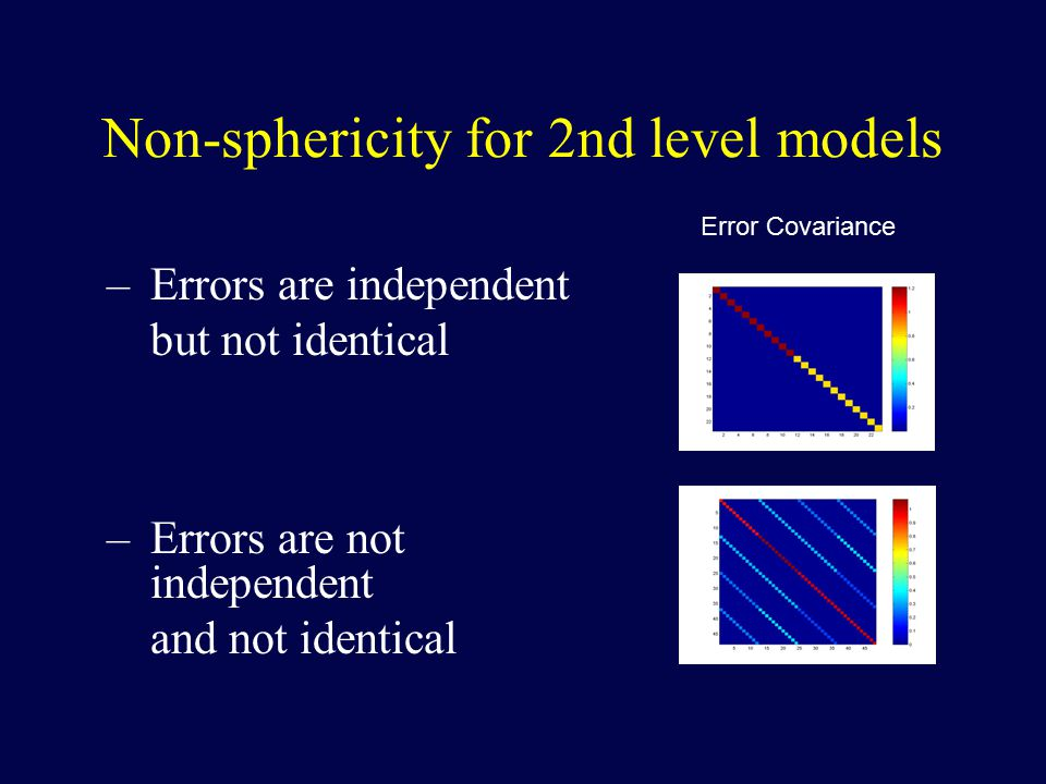 Non-sphericity for 2nd level models –Errors are independent but not identical –Errors are not independent and not identical Error Covariance