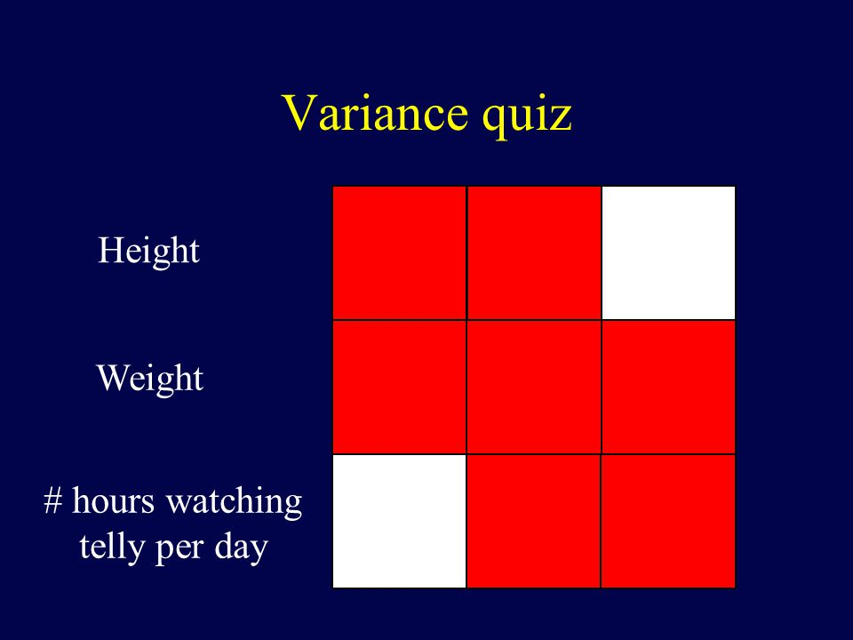 Variance quiz Height Weight # hours watching telly per day
