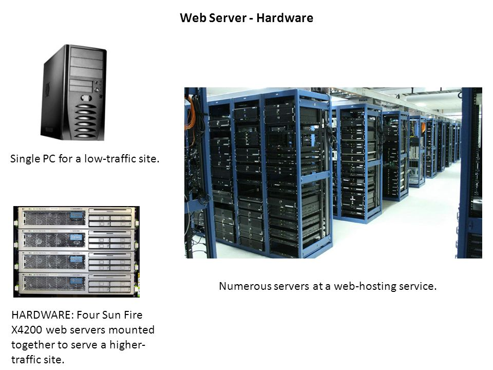 Web Server - Hardware HARDWARE: Four Sun Fire X4200 web servers mounted together to serve a higher- traffic site.