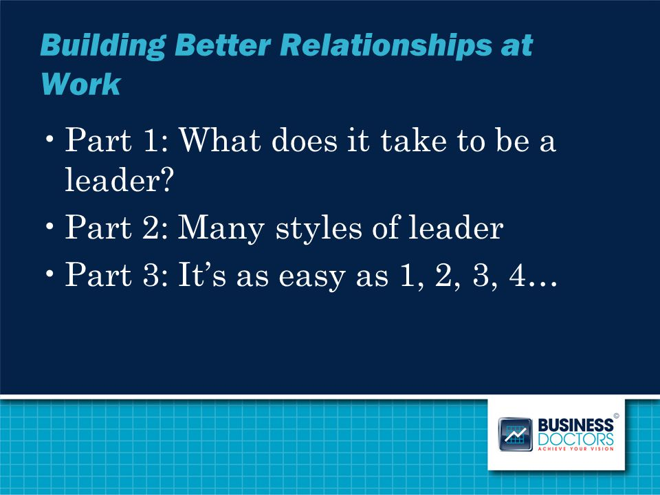 Building Better Relationships at Work Part 1: What does it take to be a leader? Part 2: Many styles of leader Part 3: It's as easy as 1, 2, 3, 4…