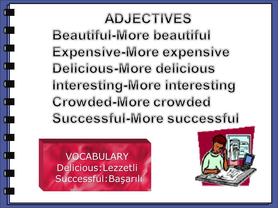 VOCABULARYDelicious:Lezzetli Successful:Başarılı Successful:Başarılı