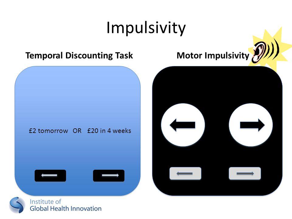 Impulsivity Temporal Discounting TaskMotor Impulsivity £2 tomorrowOR£20 in 4 weeks