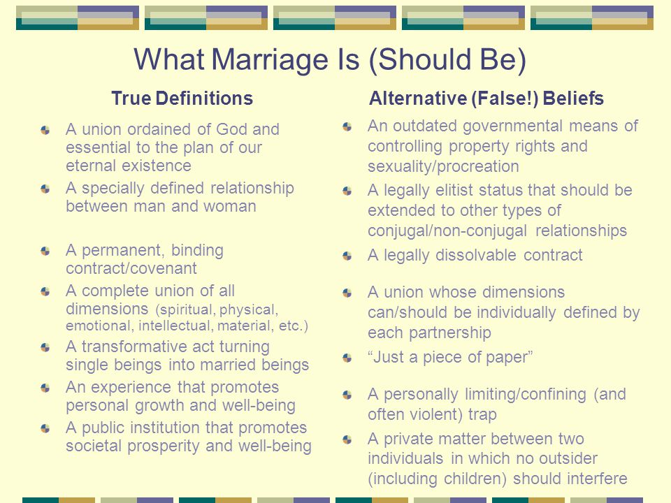 What Marriage Is (Should Be) A union ordained of God and essential to the plan of our eternal existence A specially defined relationship between man and woman A permanent, binding contract/covenant A complete union of all dimensions (spiritual, physical, emotional, intellectual, material, etc.) A transformative act turning single beings into married beings An experience that promotes personal growth and well-being A public institution that promotes societal prosperity and well-being An outdated governmental means of controlling property rights and sexuality/procreation A legally elitist status that should be extended to other types of conjugal/non-conjugal relationships A legally dissolvable contract A union whose dimensions can/should be individually defined by each partnership Just a piece of paper A personally limiting/confining (and often violent) trap A private matter between two individuals in which no outsider (including children) should interfere True DefinitionsAlternative (False!) Beliefs