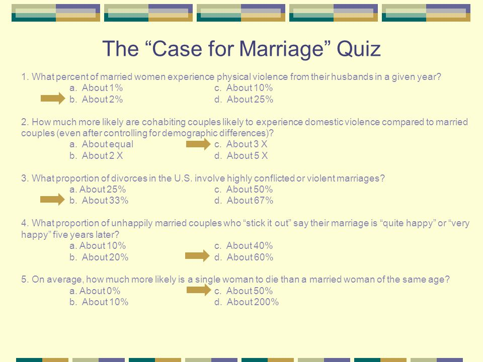 The Case for Marriage Quiz 1.